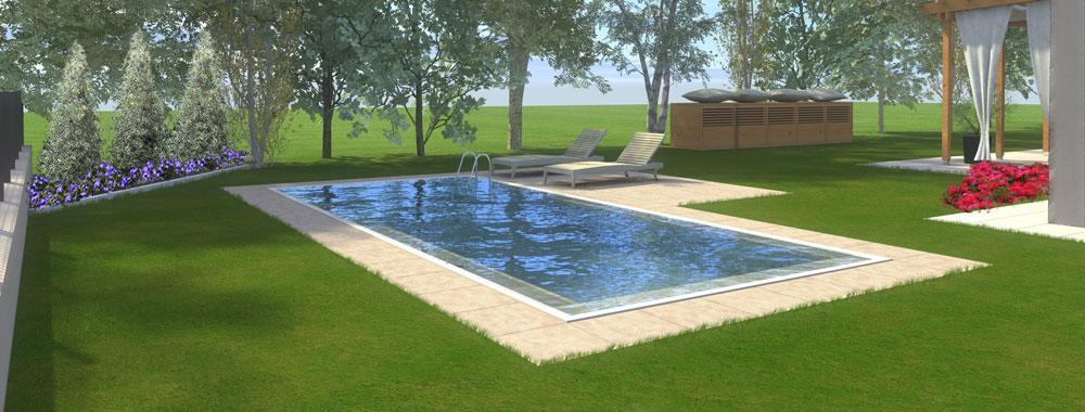 progettazione render piscina